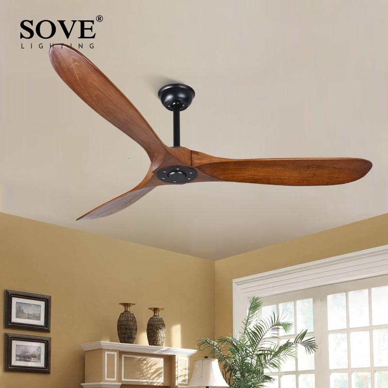 Sove 60 Polegada ventiladores de teto de madeira industrial do vintage sem luz decoração ventiladores de teto de madeira controle remoto ventilateur plafond