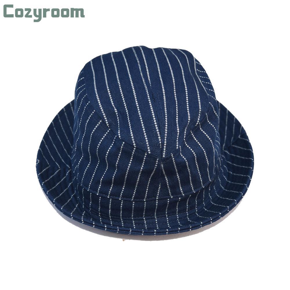 Cozyroom Vintage Wabash Stripes Indigo Bucket Hats Workwear Railroad Caps Unisex