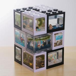 Creative Multicolor Stackable Building Blocks Ecological Mini Aquarium Fish Tank Small Reptile Pet Box landscape seawe(China)