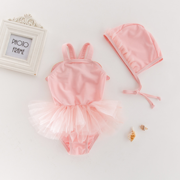 KID'S Swimwear Girls Summer One-piece Swimming Suit Angel Wings Yarn Edge Swimwear Hot Springs Casual Holiday Tour Bathing Suit