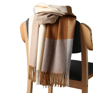 Image 5 - 2020 New Real Cashmere Scarf Stole Plaid Wool Scarves For Women Winter Warm Female Poncho Cape Fashion Lady 100 Pashmina Shawls