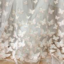 Lace-Fabric Embroidery Tulle Yard Butterfly Wedding-Gown Pink White with Clear Sequin