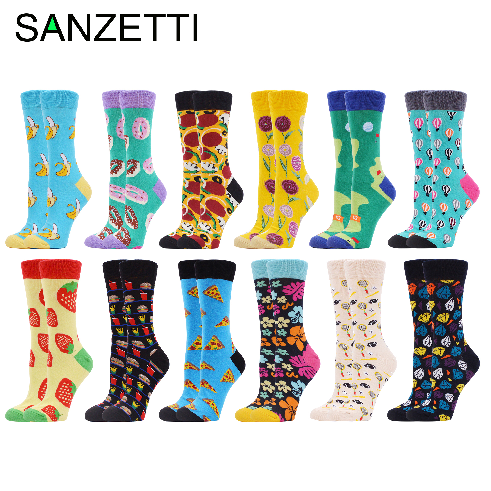 SANZETTI 12 Pairs  Women's Combed Cotton Crew Socks Happy Funny Colorful Lovely Flowers Fruit Golf Novelty Wedding Gifts Socks