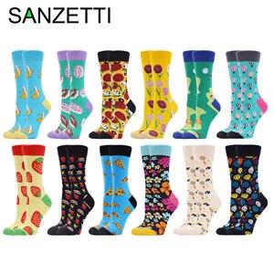 Image 1 - SANZETTI 12 пар женских носков из чесаного хлопка, Веселые разноцветные милые цветы, фруктовые гольфы, новинка, свадебные подарочные носки