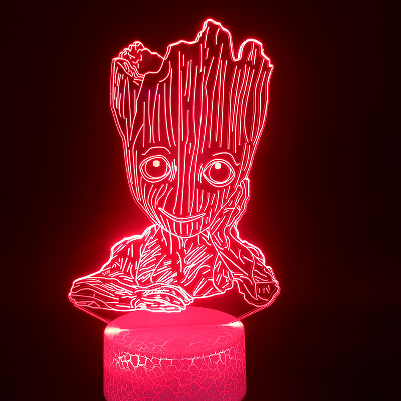 3D Lamp Guardians Of The Galaxy Groot Best Present For Children For Indoor Bright Base Atmosphere Usb Led Night Light Lamp