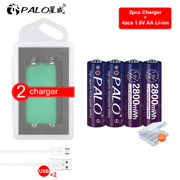 PALO 1.5v 2800mWh aa polymer lithium li-ion rechargeable batteries battery AA 1.5V stable contant+ 2slots lithium li-ion charger