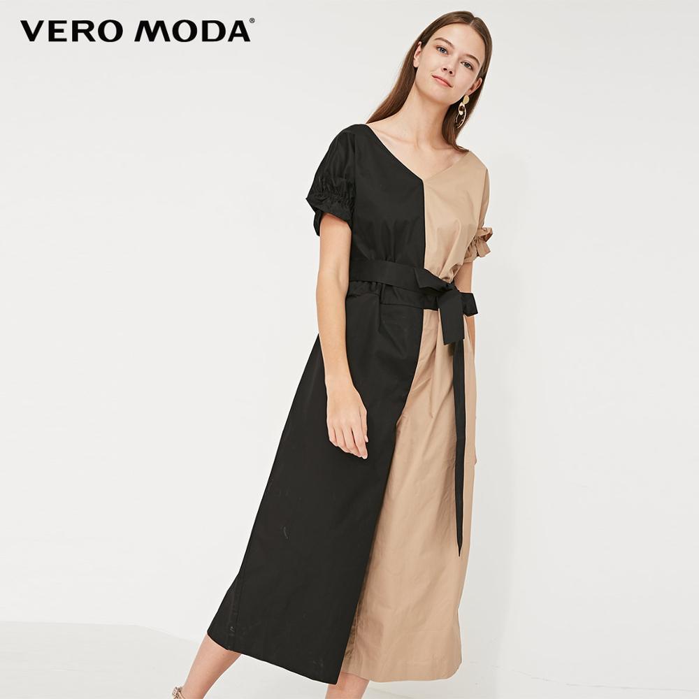 Vero Moda Women's 100% Cotton V-neckline Frilled Sleeves Denim Jumpsuit   31929X502