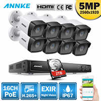 ANNKE 16CH FHD 5MP POE Network Video Security System 8MP H.265+ NVR With 8PCS 5MP 30m EXIR Night Vision Weatherproof IP Cameras