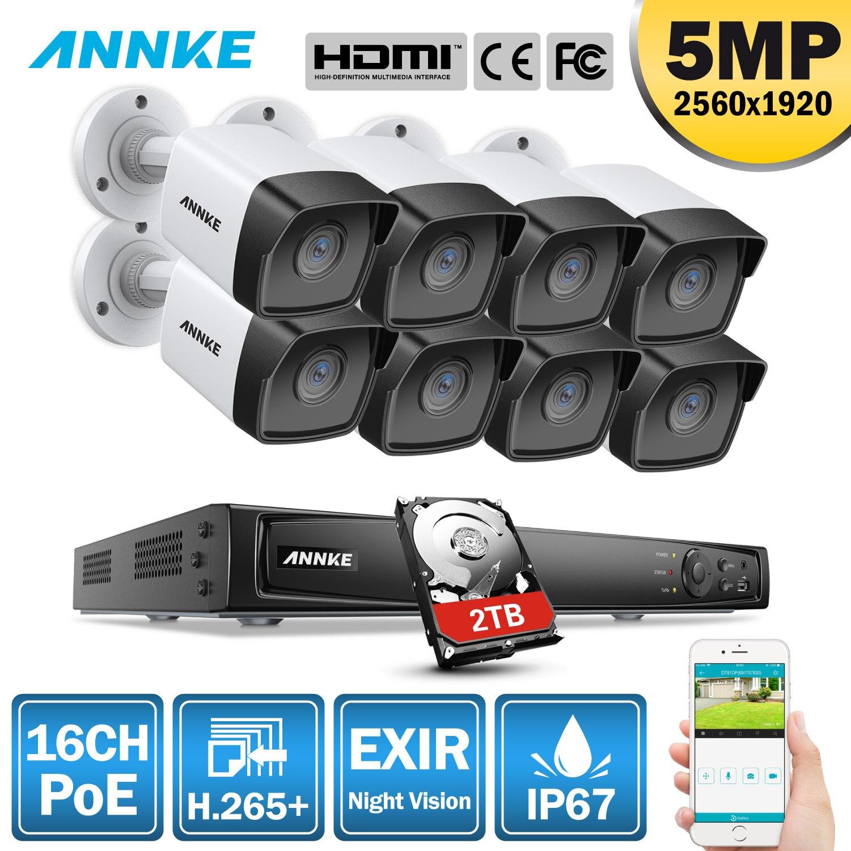 Annke 16ch fhd 5mp poe rede de vídeo sistema segurança 8mp h.265 + nvr com 8 pces 5mp 30m exir visão noturna câmeras ip à prova de intempéries