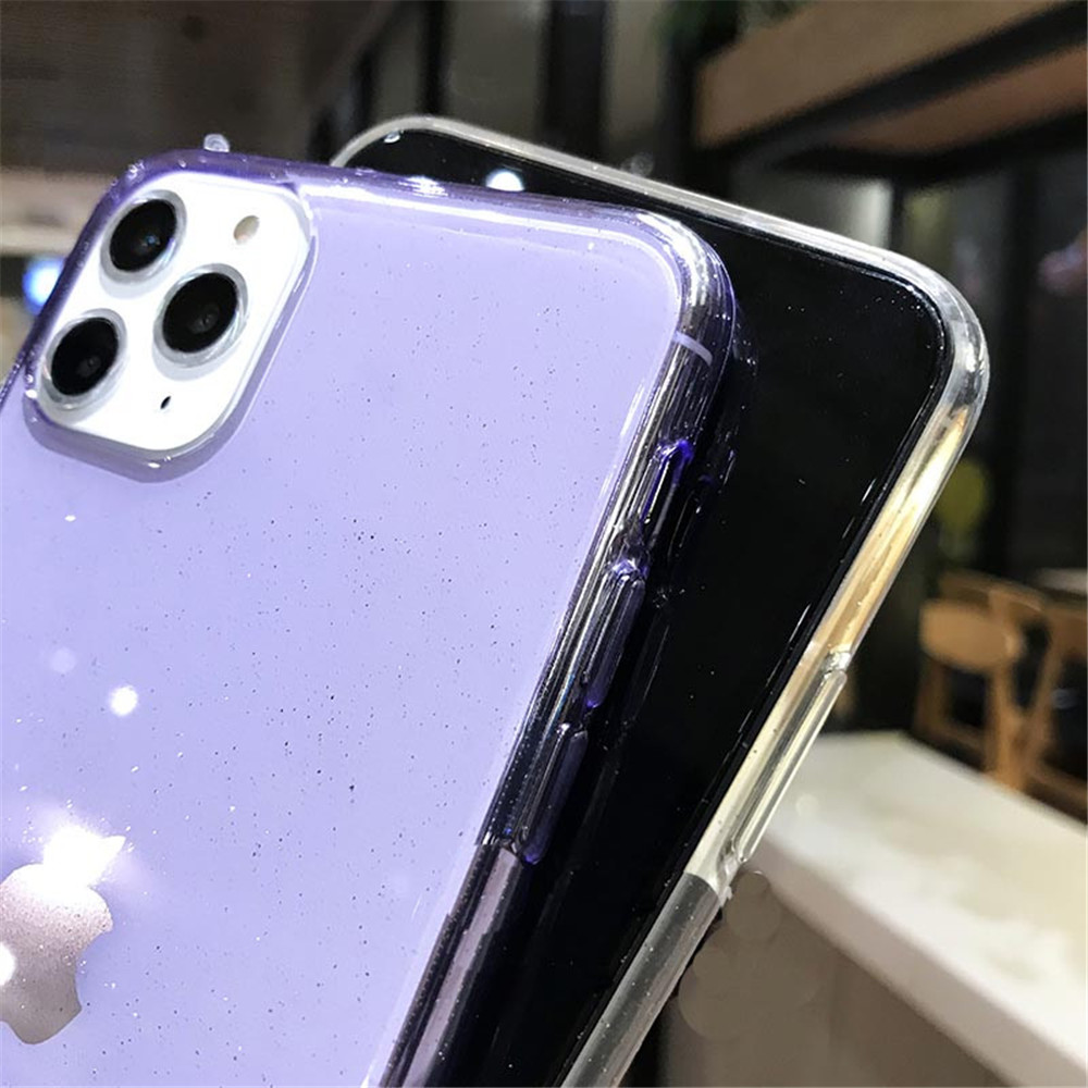 He33ec92c4fa541b18f5a54f688b806fdG - Moskado Bling Glitter Transparent Phone Cases For iPhone 11 11Pro Max X XR XS Max 7 8 6 6s Plus Clear Solid Soft TPU Back Cover