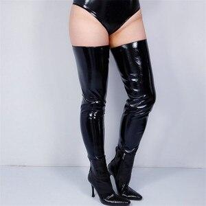 Image 4 - 2020 新ラテックスボレロ手袋輝き革フェイクパテントブラックトップジャケットすくめ女性ロング革手袋 WPU205 クロップ