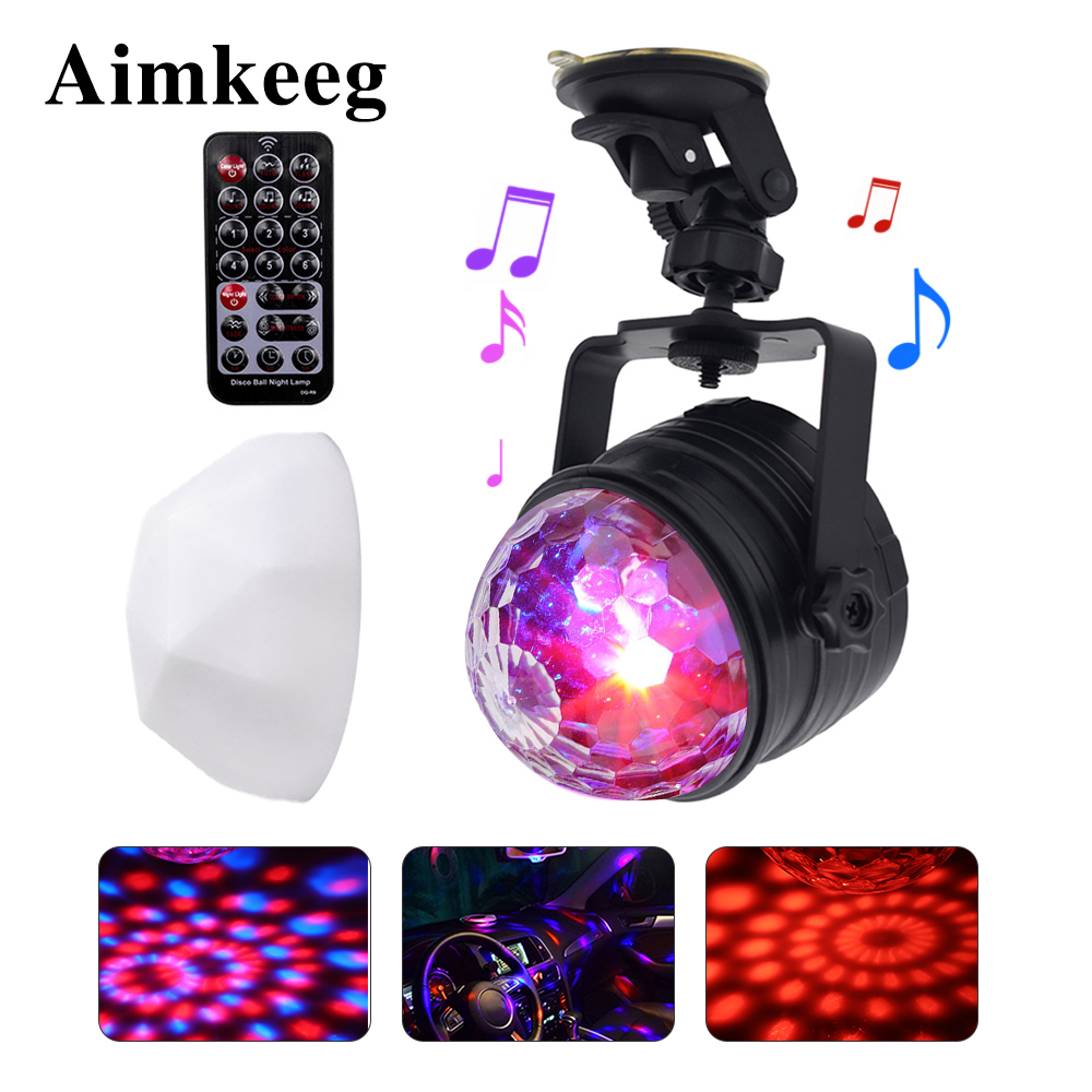 Magic Ball RGB Stage Light 5V USB Mini Disco Light With Laser Voice Control Projector Effect For Car Home Wedding Birthday Party