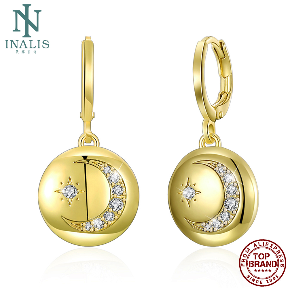 INALIS Star And Moon Drop Earrings For Women And Men Gold Plated Unisex Cubic Zirconia Copper Earring Engagement Fashion Jewelry