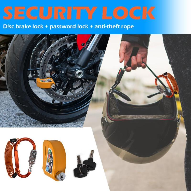 Helmet Combination Lock Excellent Aluminum Zinc Alloy Steel Wire Motorcycle Alarm Disc Lock With Reminder Rope And 2 Keys