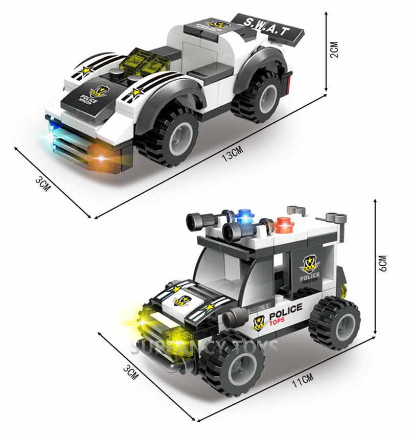 858 шт. городской спецназ полицейский командный автомобиль грузовик технологические строительные блоки кирпичи Playmobil LegoINGs игрушки для детей Рождественский подарок