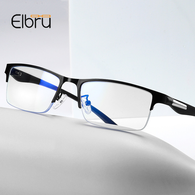Elbru Ultralight Anti-blue Light TR90 Metal Frame Glasses Men Classic Half Frame Anti-Radiation Optical Computer Eyewear