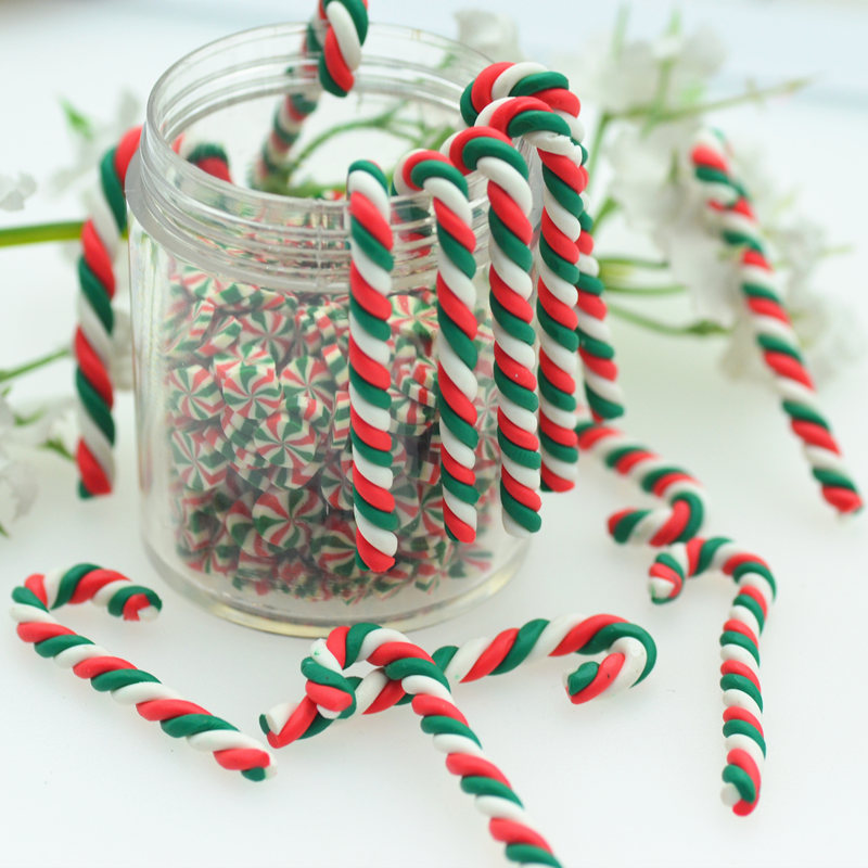 3X37mm Polymer Clay Twisted Christmas Candy Cane-Christmas Party Decoration Miniatures-Dollhouse Xmas Candy