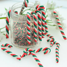 3X37mm Polymer Clay Twisted Christmas Candy Cane-Christmas Party Decoration Miniatures-Dollhouse Xmas