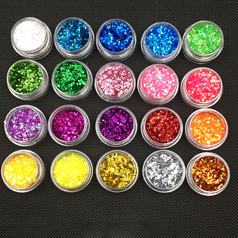 20 Pcs/set DIY Crystal Epoxy Jewelry Glitter Mixed Coarse Powder Nail Art Making Filler
