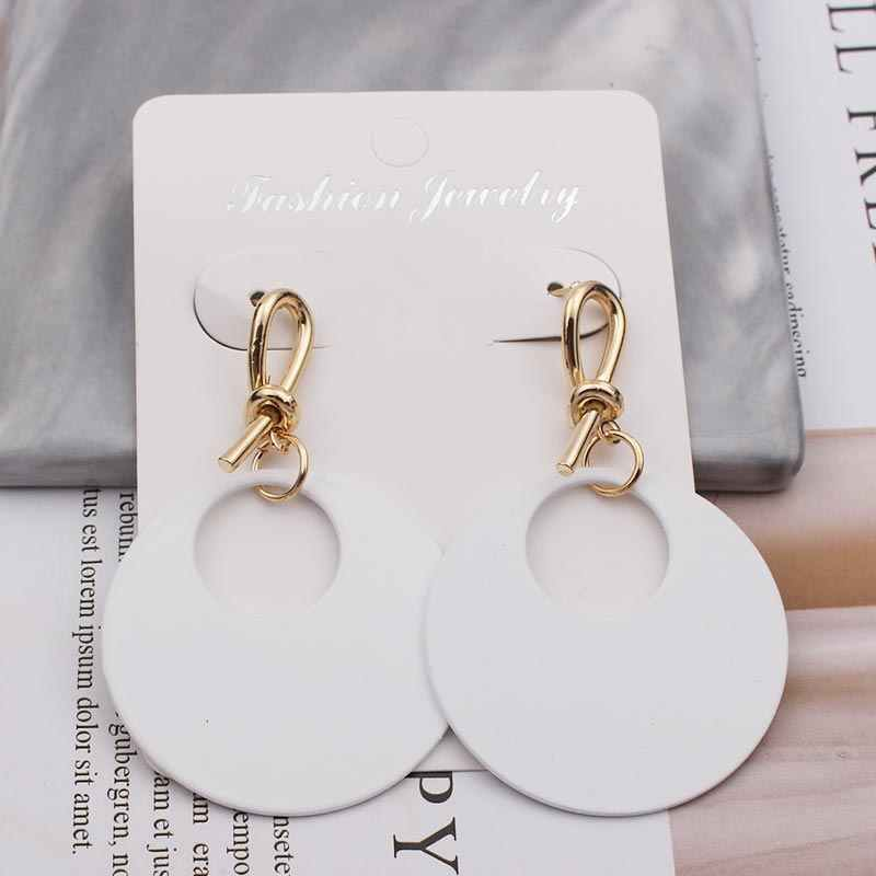 Big Fashion Black White Green Gold Color Round Drop Dangle Earrings for Women 2019 Statement Long Elegant Party Earring Jewelry