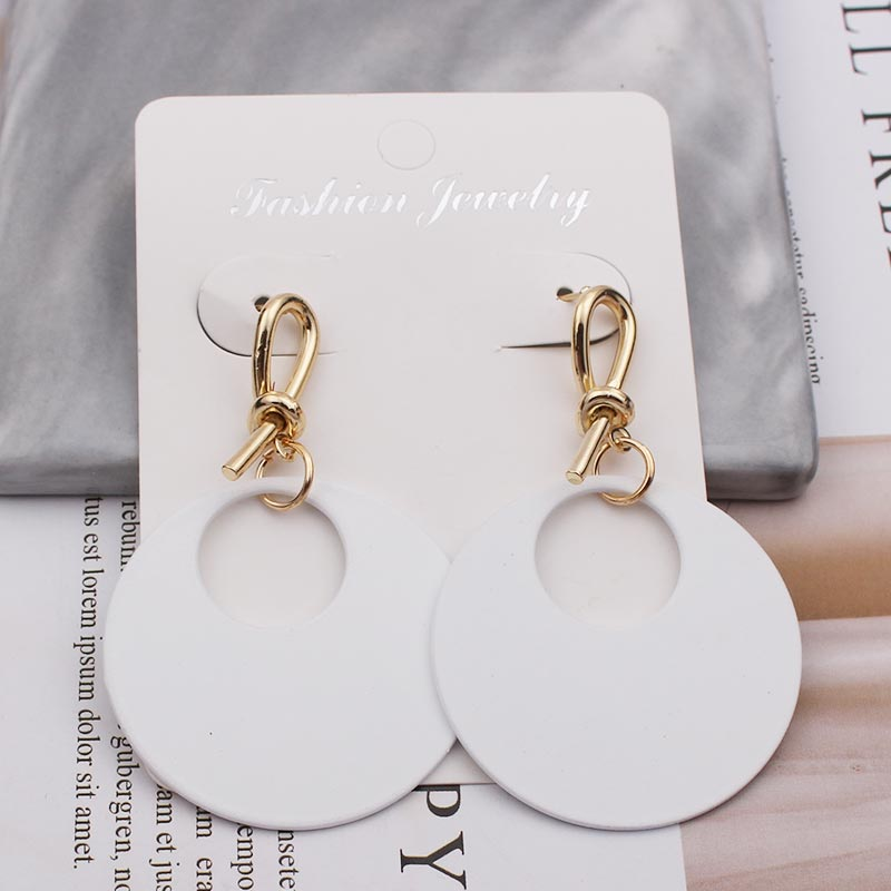 Big Fashion Black White Green Gold Color Round Drop Dangle Earrings for Women 2019 Statement Long Elegant Party Earring Jewelry-in Drop Earrings from Jewelry & Accessories on AliExpress