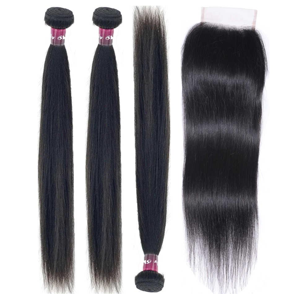 Lynlyshan прямые человеческие волосы с закрытием шнурка индийские волосы 3 пучка с 4*4 закрытие remy волосы естественного цвета Бесплатная доставка