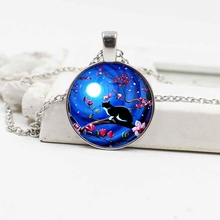 New retro new animal cat crystal glass pendant alloy necklace popular jewelry