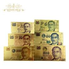 6 шт./компл. новый цвет, Сингапур, Банкнота 2 5 10 50 100 1000 SGD банкнота в 24k золота, поддельные бумажные деньги для коллекции