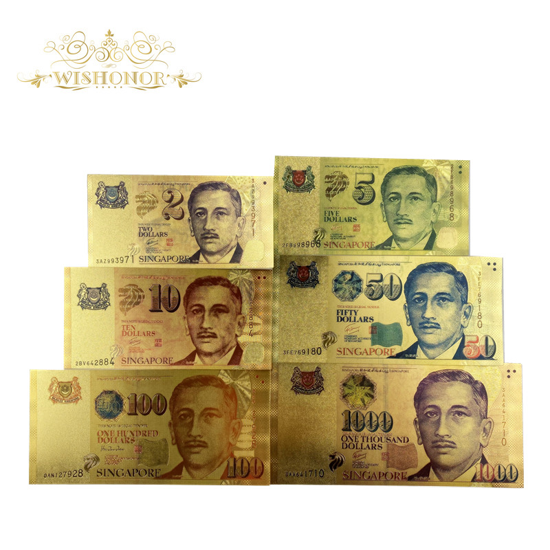 6pcs/set New Color Singapore Banknote 2 5 <font><b>10</b></font> 50 100 <font><b>1000</b></font> SGD Banknote in 24k Gold Fake Paper Money For Collection image