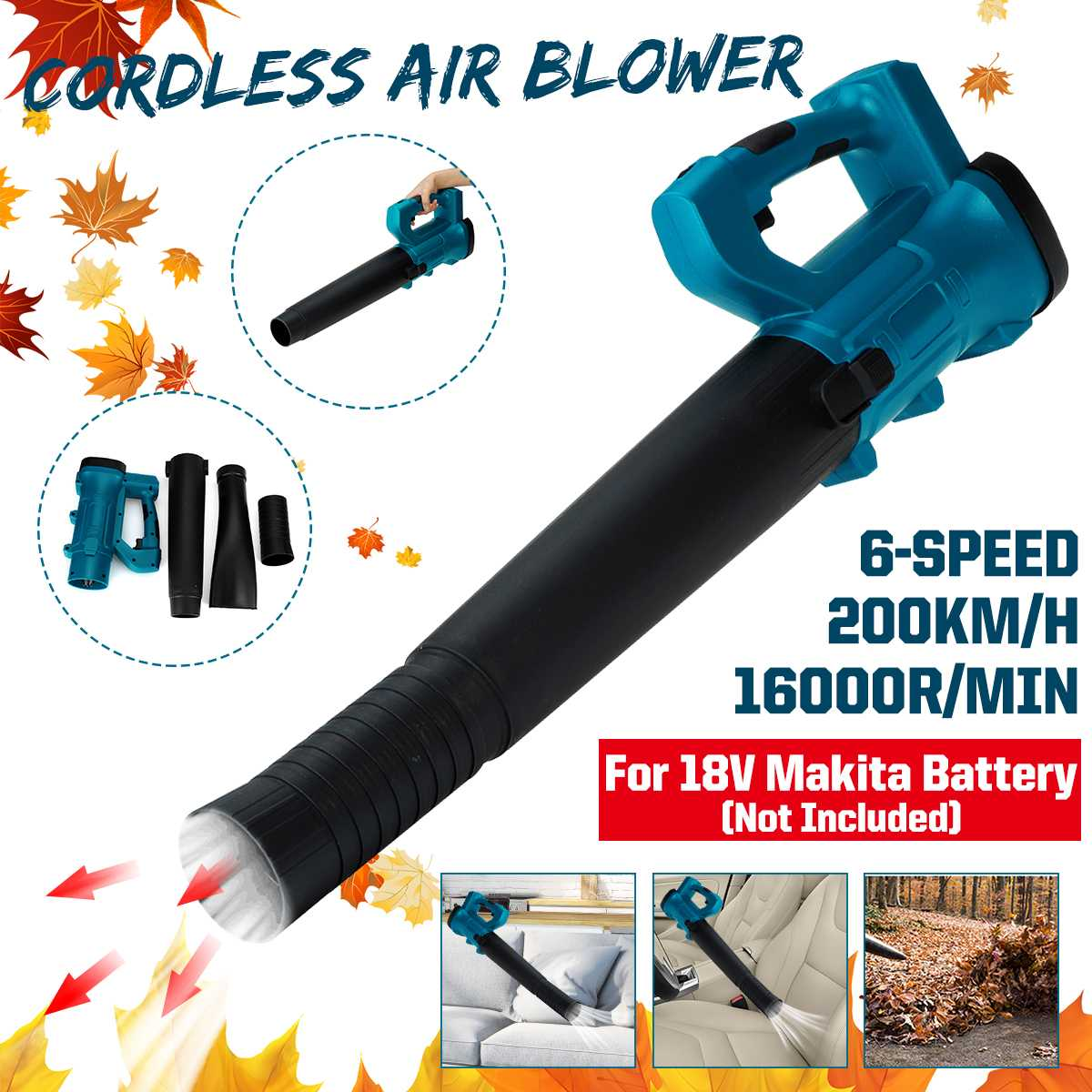 16000r/min Industry Cordless Blower Air Snow Blower Dust Leaf Collector Blowing Sweeper Garden Tools For 18V Makita Battery