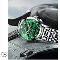2019 новые модные роскошные мужские часы спортивные водонепроницаемые кварцевые часы с хронографом зеленые мужские полностью стальные