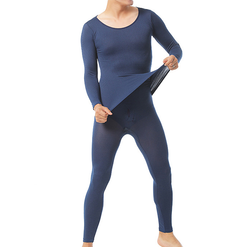 Men Seamless Elastic Thermals Inner Wear Constant Temperature Ultra-thin Underwear Suit Top Pants HSJ88