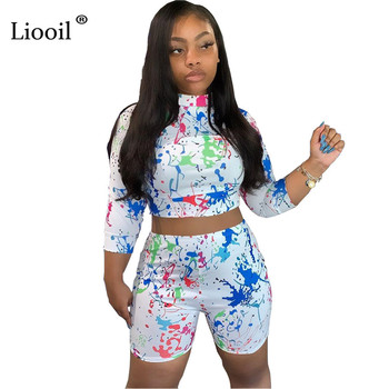 Liooil White Print Two Piece Short Sets Tracksuit 2019 Womens Shorts With T Shirts Top Tight Matching Set Outfit Jogging Femme