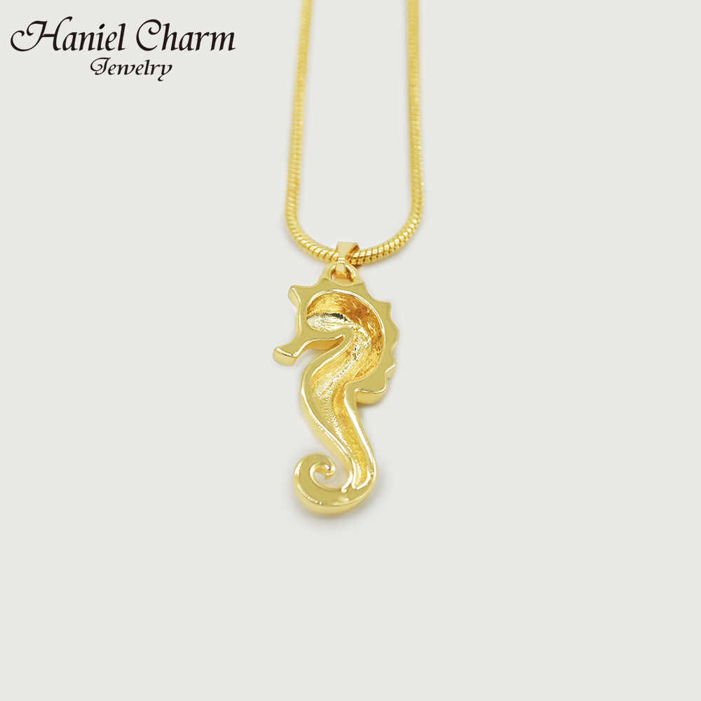 Haniel Pesona Indah HIPOKAMPUS Bentuk Warna Emas Berlapis Kalung Liontin untuk Wanita Pesta Hadiah