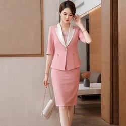 Nieuwe 2021 Lente Zomer Vrouwen Rok Past Roze Blazer En Jas Sets Dames Business Werkkleding Uniform Half Mouw