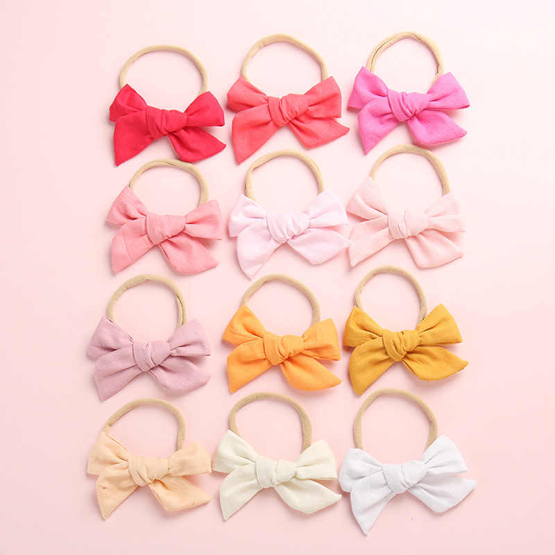24 Colors Soft Cotton Linen Fabric Bow Hair clips, Schoolgirl Sailor Bow Clips, Baby Girls Hair Accessories