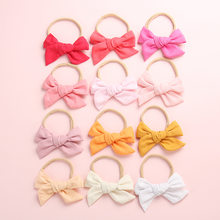 24 Colors Soft Cotton Linen Fabric Bow Hair clips, Schoolgirl Sailor Bow Clips, Baby Girls Hair Accessories(China)