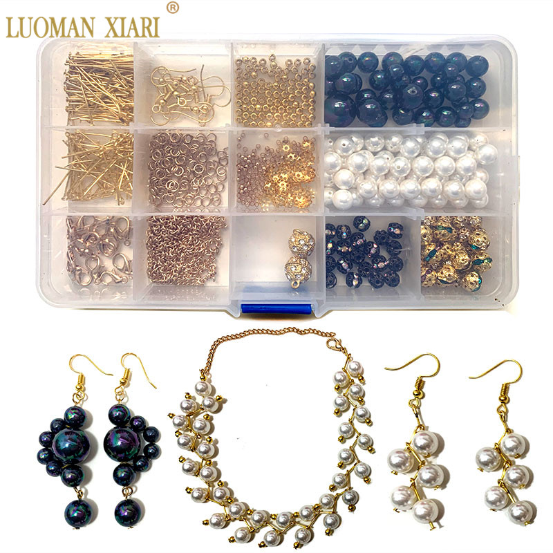 Beginner Beads Kits Black White Round Pearl Beads Sets Jewelry Accessory  Diy Necklace Earrings  Bracelet Handmake Craft Making