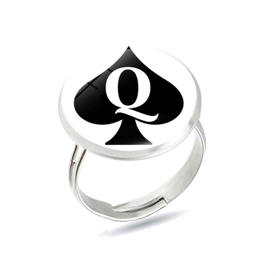 Poker Spades Q Queen Rings Spades Q Heart Club Rings Statement Women Men Personality Jewelry Anillos Stainless Steel