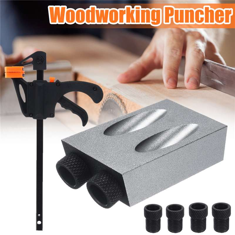 8PCS/Set 6mm 8mm 10mm Woodworking Pocket Hole Jig Angle Drill Guide Set Hole Puncher Locator Jig Drill For Carpentry