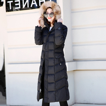 KMVEXO 2019 High Quality Women Long Down Coat With Fur Hooded Female Jacket Outwear Warm Parka Abrigos Mujer Invierno