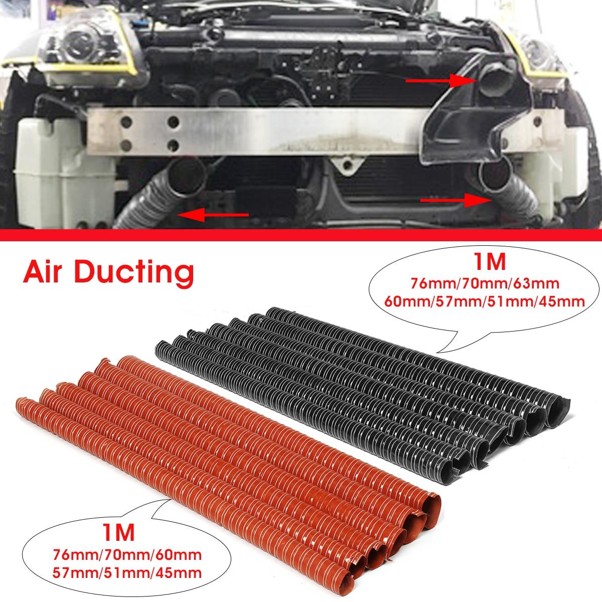 Araba Hood hava emme borusu 1m hava kanalı hortumu tüp 76/70/63/60/57/51 /45mm esnek filtre borusu evrensel