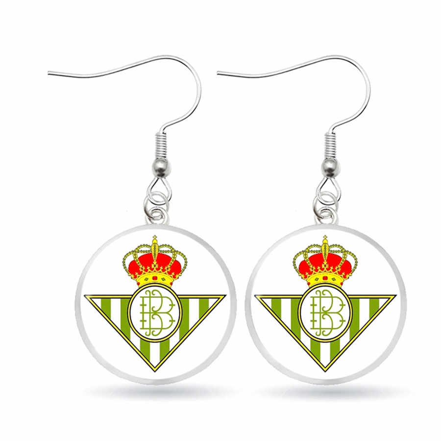 Inggris Logo Klub Sepak Bola Anting-Anting Menjuntai Kaca Perhiasan Logo Tim Anting-Anting Fan Hadiah Perhiasan Anting-Anting Fashion Perhiasan Aretes