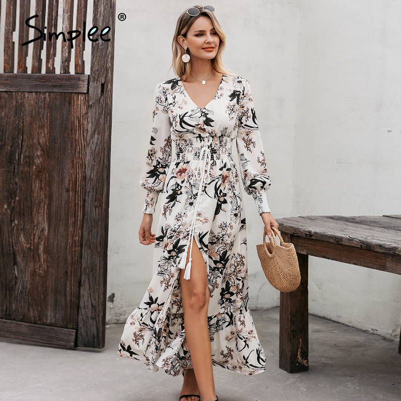 Simplee Beach Floral Women Summer Dress Bohemian Lantern Sleeve Tassel Female Maxi Dress Buttons Belted Long Dress Vestido 2020
