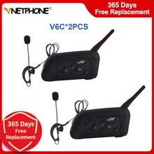 2ชุด Vnetphone V6C Professional ฟุตบอลผู้ตัดสิน Intercom Full Duplex ชุดหูฟังไร้สาย1200M BT ผู้พิพากษาหูฟัง Interphone