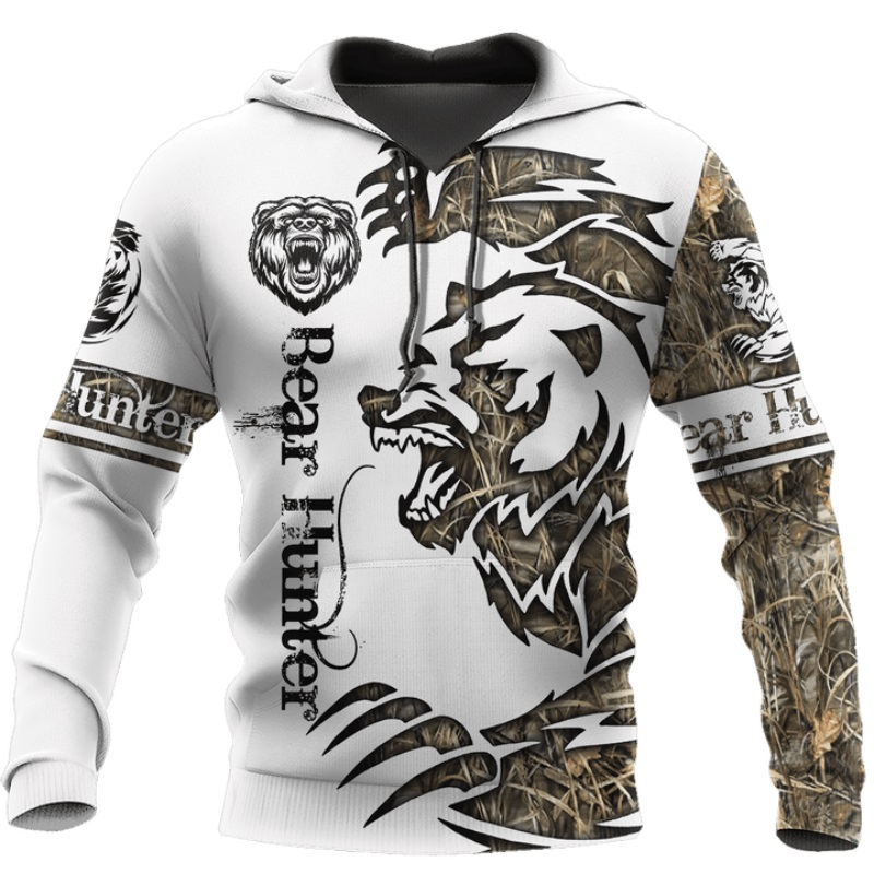 Bear hunting tattoo 3D Print Hoodies for men/women Harajuku Fashion Hooded Sweatshirt Autumn Casual hoodie sudadera hombre DLL92