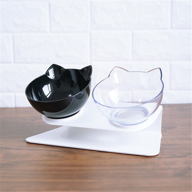 Explosive Cat Double Bowl Cat Bowl Dog Bowl Transparent AS Material Non-slip Food Bowl With Protection Cervical Transparent Cat