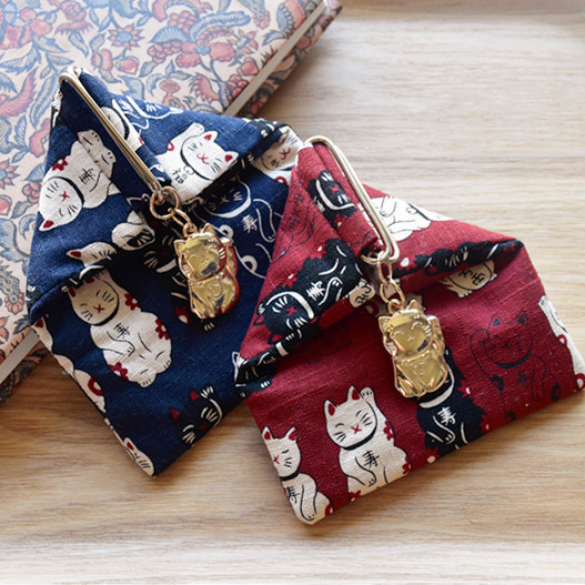 Origional Fabric Handmade System Creative Wallet Japanese Style And Wind Lucky Cat Rice Roll Wallet Small Objects Storage