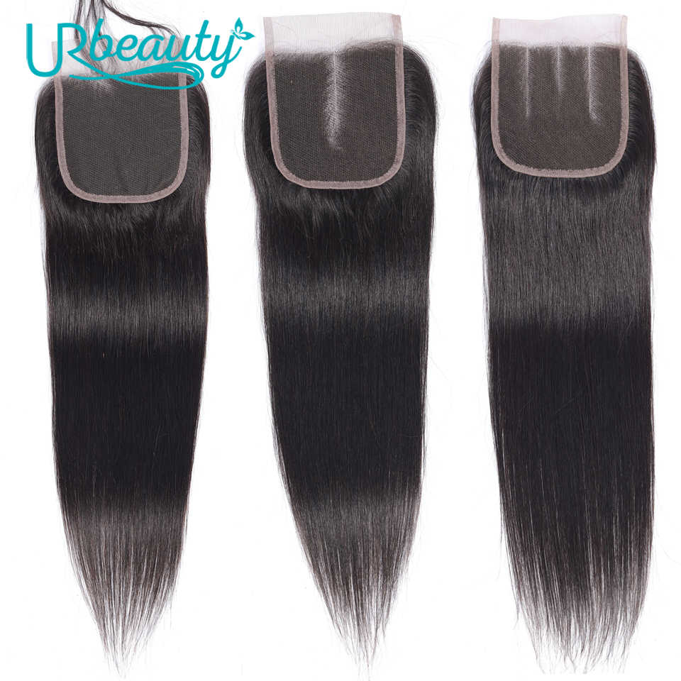 "UR Beauty Straight Hair 4*4 Lace Closure Medium Ratio 8""-20"" Brazilian Non-Remy Hair Human Hair Lace Closure Natural Black Color"