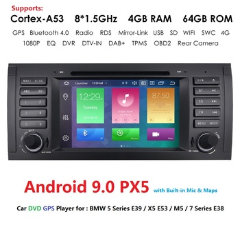 DSP Android 9.0 Car Stereo DVD Multimedia Player for BMW E39 X5 E53 M5 BT Wifi Radio GPS Navigation 7'' IPS Screen Car Head Unit